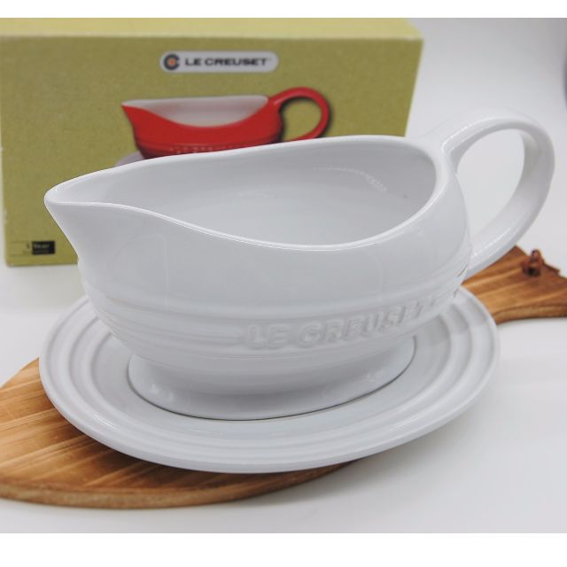 LE CREUSET日本帶回~純白陶瓷醬料器/Grave Boat with Saucer(全新品)