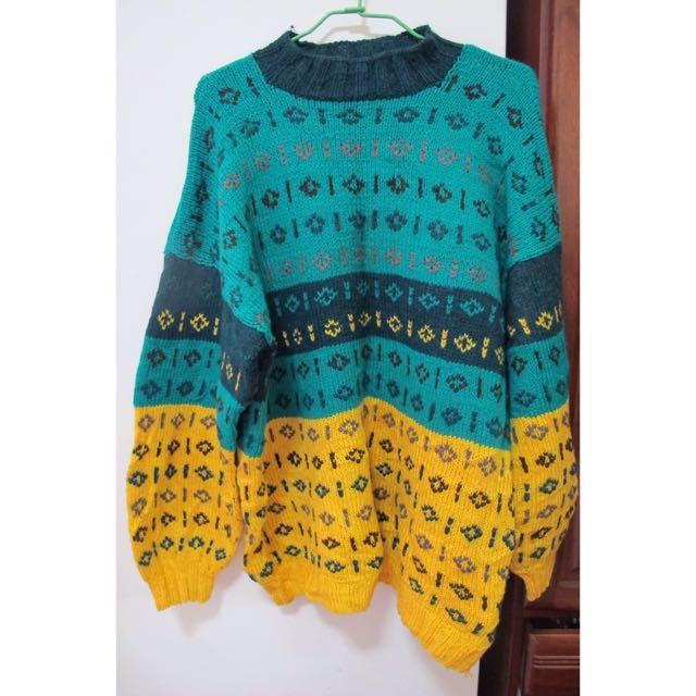 (Oreo Shake古著店購入)黃綠色拼接高領毛衣
