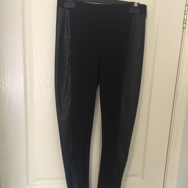 Side Panel Leather Look Full Length Tights Size L