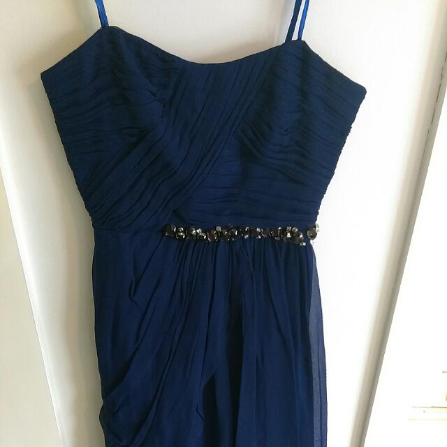 Strapless Navy Formal Gown