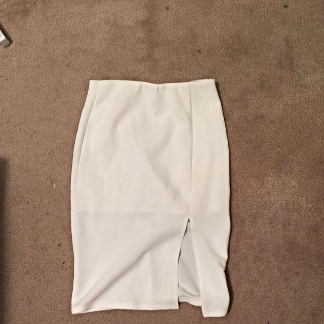 White Midi Skirt With Split Size 8
