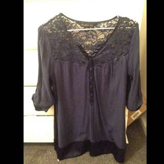 Forever New Satin Lace Dress Tunic Top