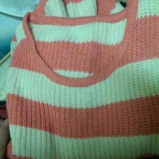 粉紅毛衣 條文毛衣 粉白毛衣