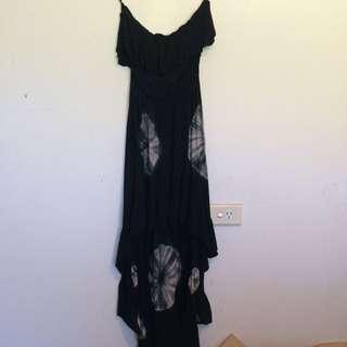 Tie Died Strapless Hi Lo Dress