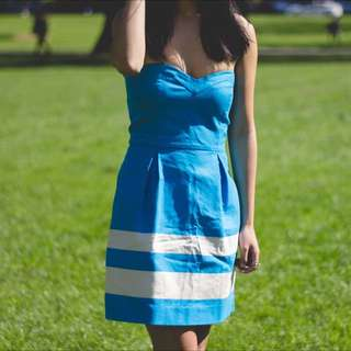 ZARA Striped Blue Dress