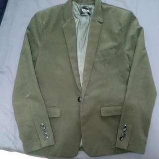 墨綠毛呢西裝外套
