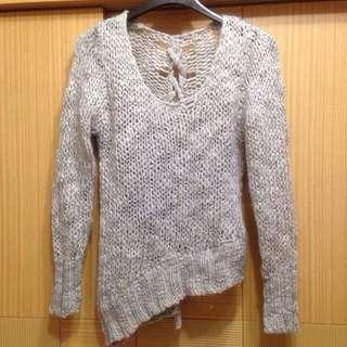 韓 灰系不規則設計款針織毛衣