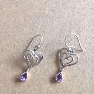 Silver Earrings With Heart Detail