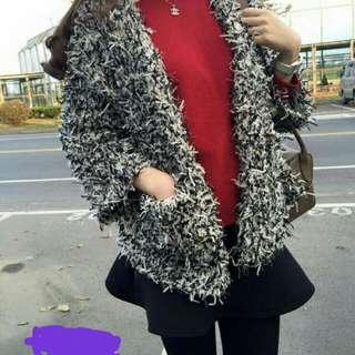 Korea全新針織澎澎外套