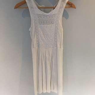WHITE Lace Detail Dress XS