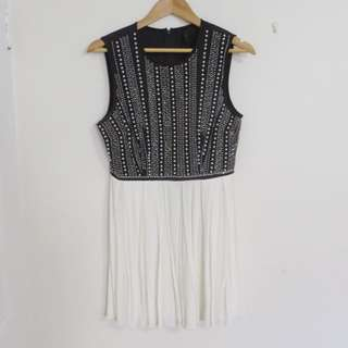 MISS SHOP BLACK & WHITE BEADED DRESS