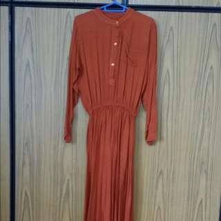 Lightly Loved Cotton Maxi Dress in Rust Orange-brown (S/M Size)