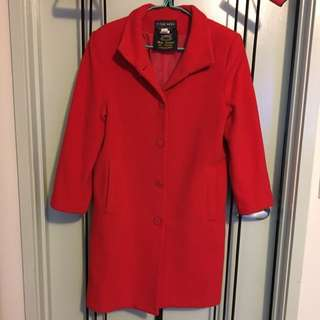 red coat. preloved used once. a bit loose for size 8. perfect for size 10-12