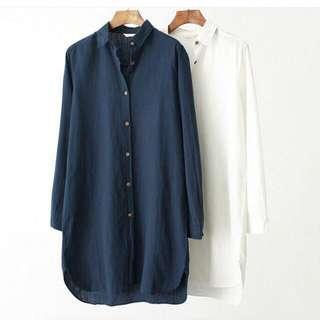 Basic BF Shirt Dress In NAVY