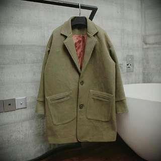 落肩韓版厚毛呢大衣