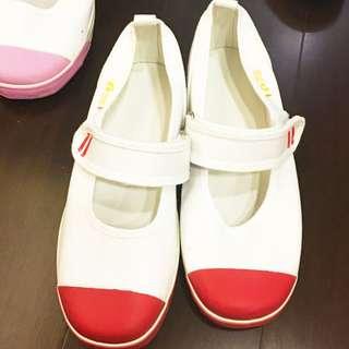 全新日本Moon Star 红白 天母日僑小學上履(室內鞋)21cm