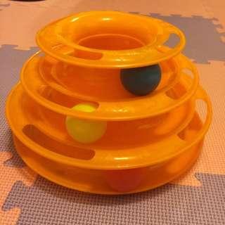 三層旋轉軌道球 貓咪玩具