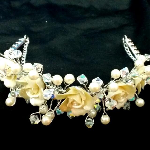 鵝黃玫瑰珍珠造型飾品(全新)