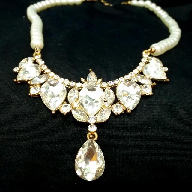 華麗優雅的雕花美鑽珍珠項鍊(全新)