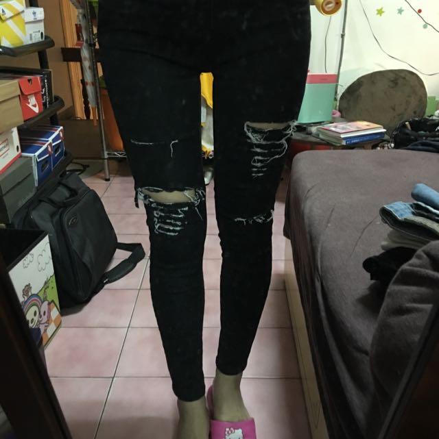 深黑破壞牛仔褲
