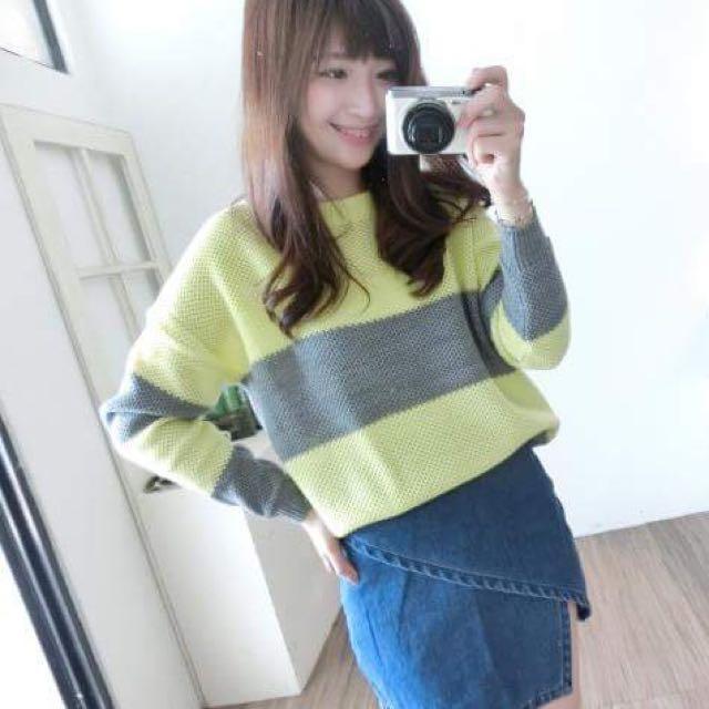 寬條紋 黃灰配色 針織毛衣
