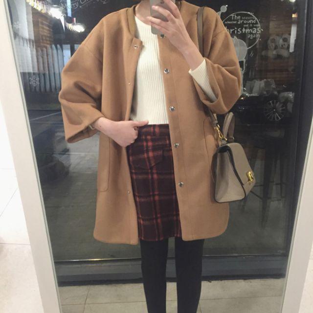 新款女裝韓版寬松加厚中長款呢子大衣棒球服毛呢外套