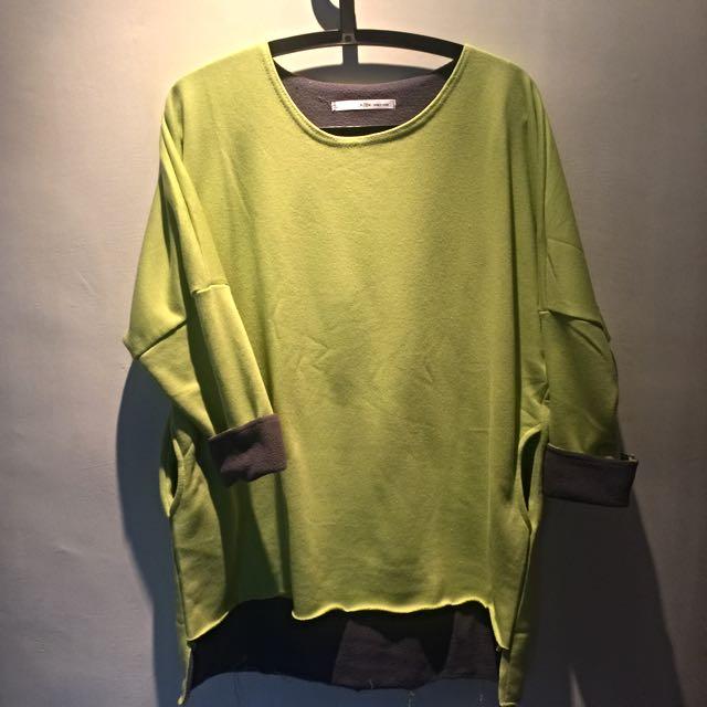 韓製蘋果綠兼灰長版跳色不對稱寬版上衣