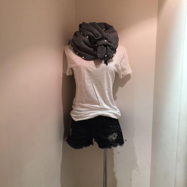韓 珍珠大披肩 圍巾。