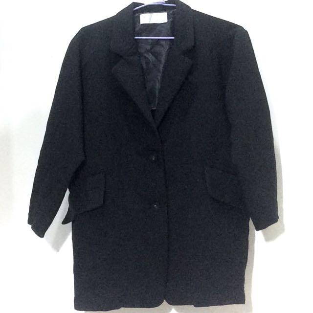 韓版黑色大衣 西裝外套 長版 遮屁股
