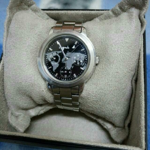 agnes b 環遊世界地圖三眼錶 正品