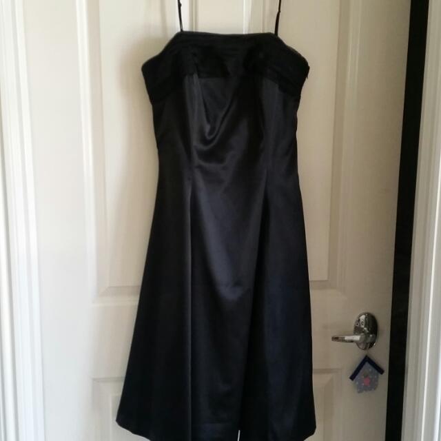 Black Satin Evening Dress