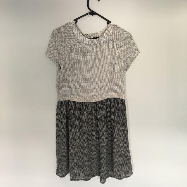 H&M Black And White Skater Dress Size US4