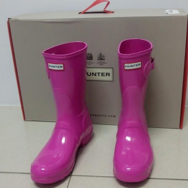Hunter亮面短筒雨靴