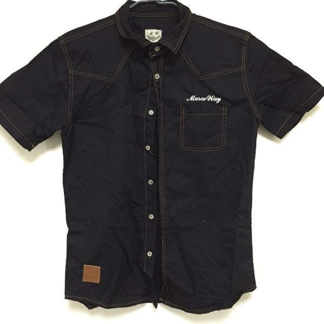MW黑色短袖襯衫