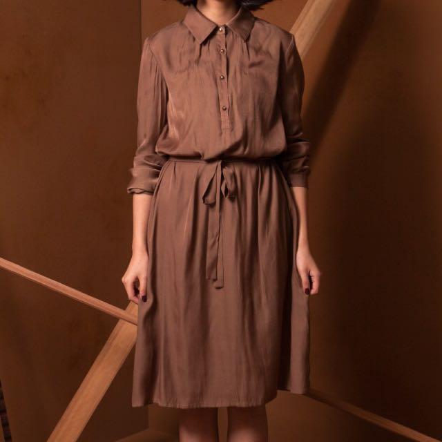 Marjorie微緞面襯衫洋裝