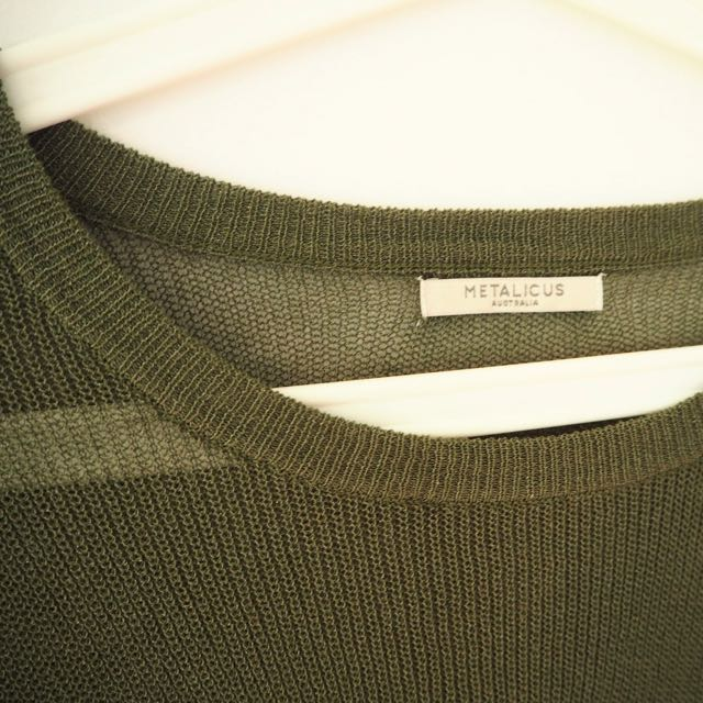 METALLICUS   One Size Khaki Cropped Pullover