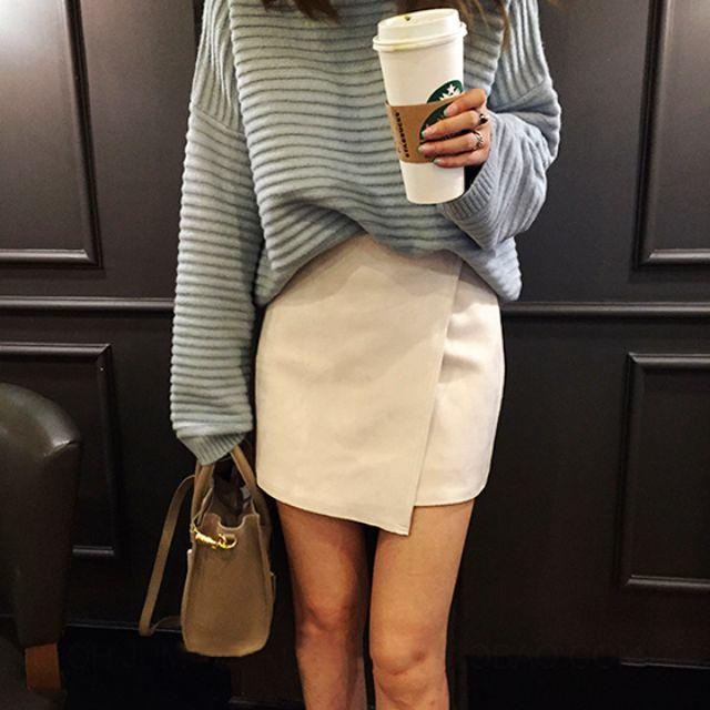 韓國百搭OL風不規則麂皮絨雙搭扣顯瘦A字裙半身裙顯瘦純色短裙
