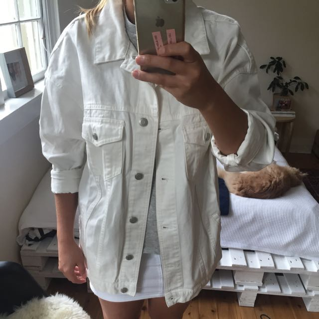 Oversized White Denim Jacket Glassons