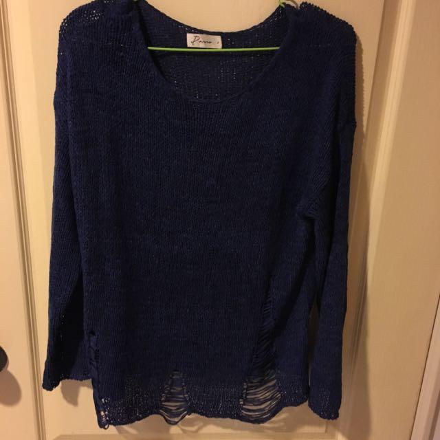 PAZZO深藍針織微透長袖上衣/9.6成新