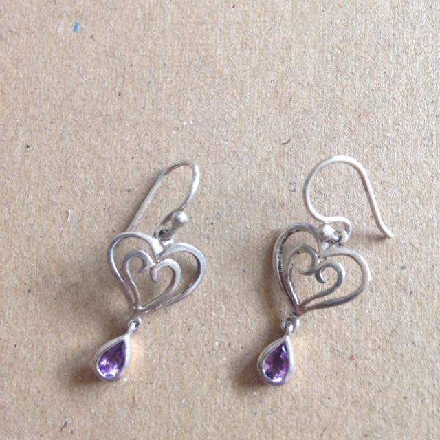 Silver Earrings With Heart Detail