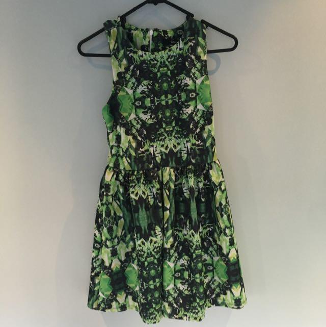 SPORTSGIRL Geo green Skater dress