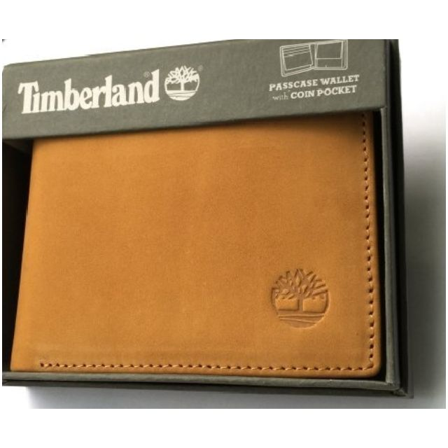 Timberland駝橘磨砂麂皮皮夾