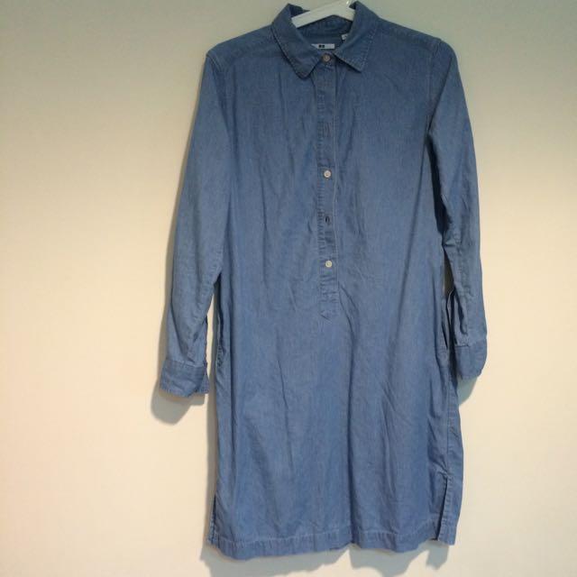 Uniqlo淺藍色一件式洋裝