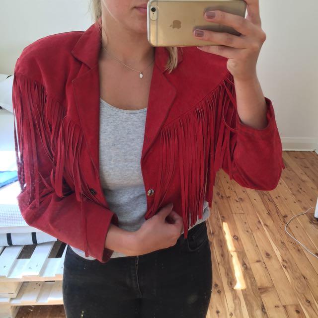 Vintage Tassel Red Suede Jacket