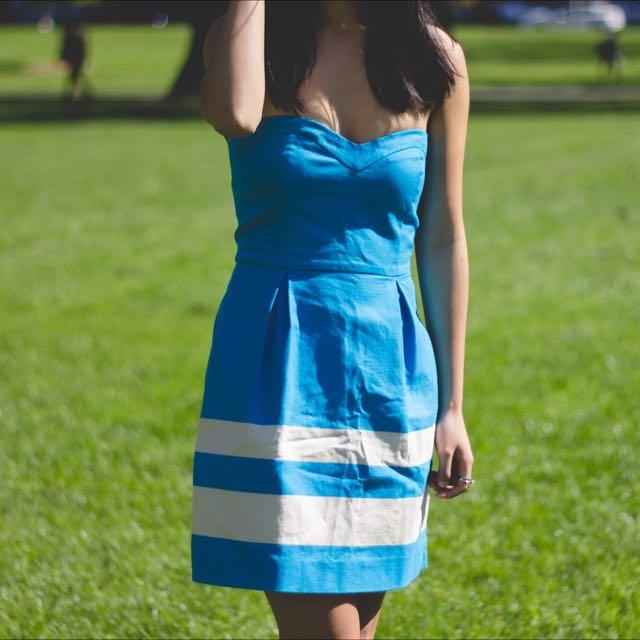 ZARA Striped Blue Dress