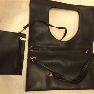 簡約時尚黑色手拿包(另附可調式肩背帶)