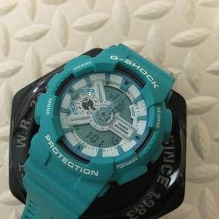 二手casio手錶 G-SHOCK湖水綠GA-110SN-3A耐衝擊指針雙顯多功能運動錶全新CASIO公司貨~二手