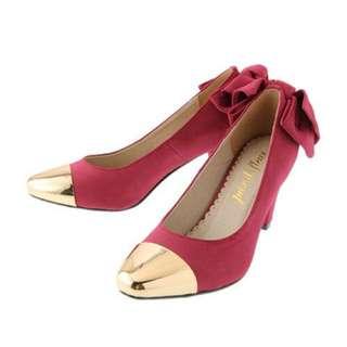 全新 日貨Prix de fleur 36號莓色果金頭蝴蝶結腳跟高跟鞋 含運