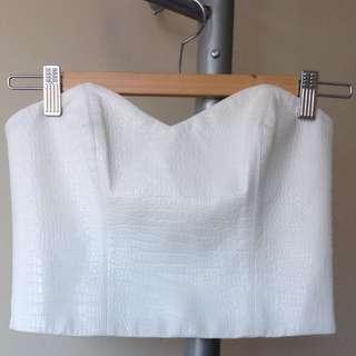 BARDOT White Croc Skin Leather Strapless Crop Top 6