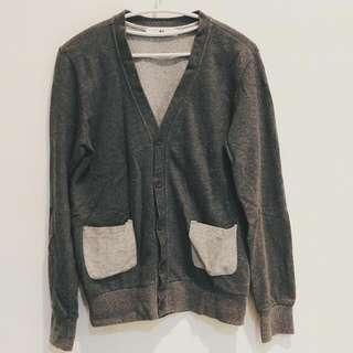日系拼接口袋針織外套